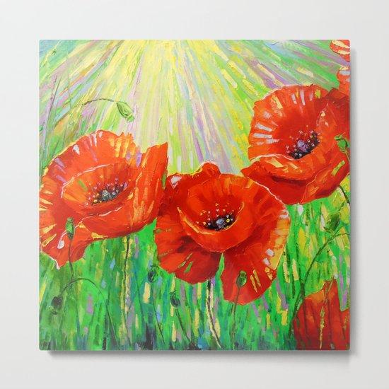 Poppies in sunlight Metal Print