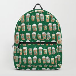 Coffee Cup Line Up in Green Backpack