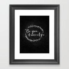 Be You Bravely // White on Black Framed Art Print