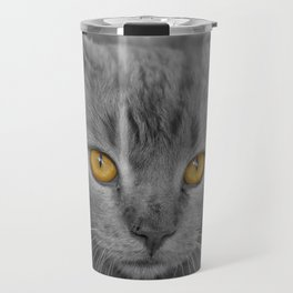 Gray Kitten with Yellow Eyes Travel Mug