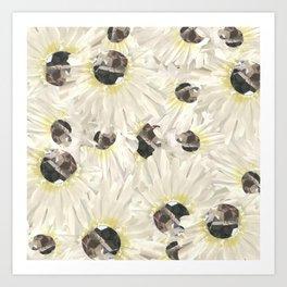 Citrine White Floral Art Print