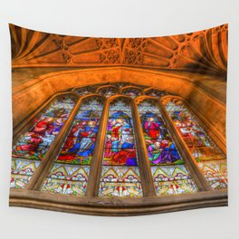 Stained Glass Abbey Window Wall Tapestry