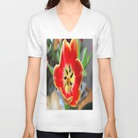 tulips V-neck T-shirts featuring tulips by  Agostino Lo Coco