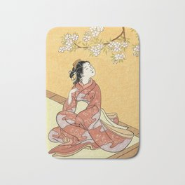 Woman & Cherry Blossoms #2 Bath Mat