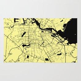 Amsterdam Yellow on Black Street Map Rug