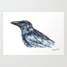 Crow with Blue Art Print