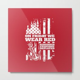 On Fridays We Wear Red Navy Family Metal Print