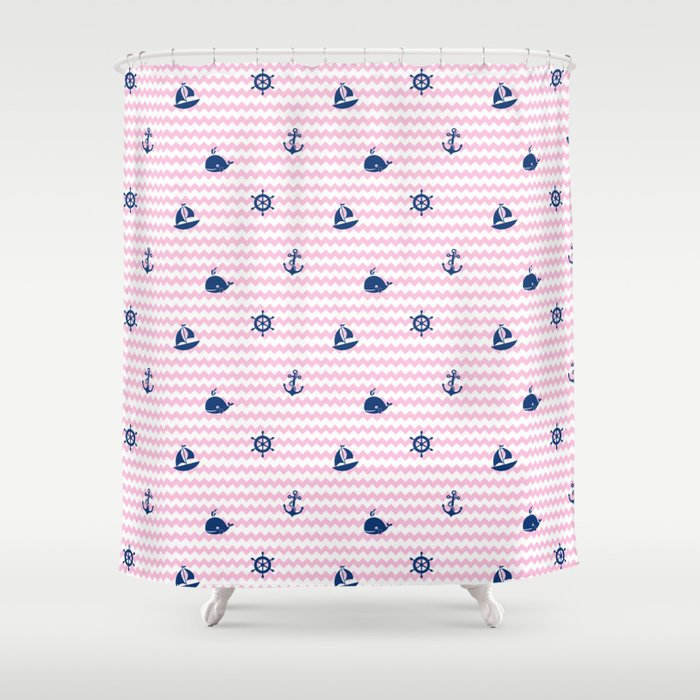 Nautical Navy Blue Pink Chevron Baby Nursery Shower Curtain By Decampstudios