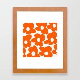 Orange Retro Flowers White Background #decor #society6 #buyart Framed Art Print