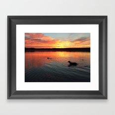 sunset on silver lake Framed Art Print