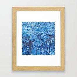 Blue splatters Framed Art Print