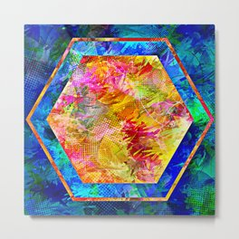 Hexagon in Complementary Colors Metal Print