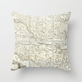 Vintage Map Print - 1690 Map of the Course of the River Danube Throw Pillow