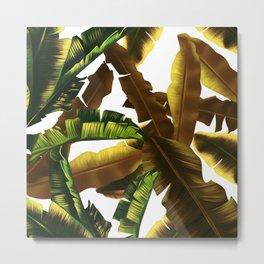 tropical banana leaves pattern gold Metal Print