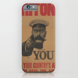 Vintage British First World War Poster - Kitchener Wants You to Join your Country's Army (1914) iPhone Case