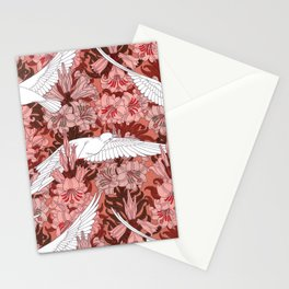 Doves and Lilies Vintage Textile Pattern, 1897 Stationery Cards