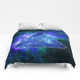 Triangle Blue Space With Nebula Comforters
