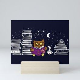 Owl Night Reader Mini Art Print