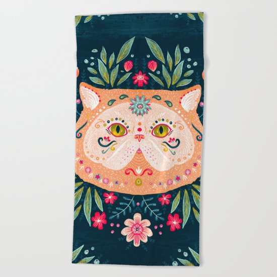 Candied Sugar Skull Kitty Beach Towel