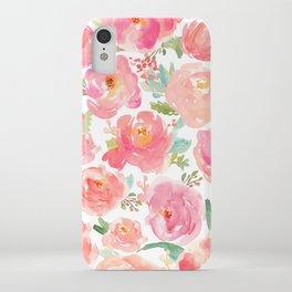 Pink Peonies Watercolor Pattern iPhone Case