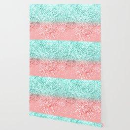 Summer Vibes Glitter #1 #coral #mint #shiny #decor #art #society6 Wallpaper