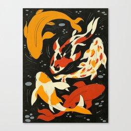 Koi in Black Water Canvas Print