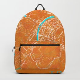 Trier, Germany, Gold, Blue, City, Map Backpack
