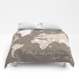 World map, Collect adventures not things Comforters