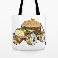 junk food Tote Bags featuring junk food car by immiggyboi90