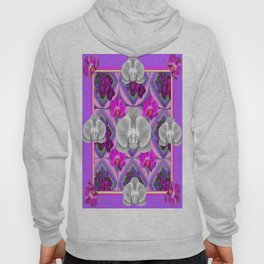 White & Pink Orchids Decorative Lilac  Pattern Art Hoody