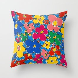 Free Form Funky Flowers by Nettwork2Design - Nettie Heron-Middleton Throw Pillow