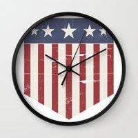 flag Wall Clocks featuring Flag by Emma Harckham