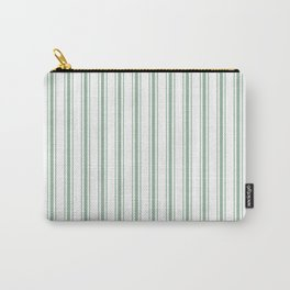 Mattress Ticking Wide Striped Pattern in Moss Green and White Carry-All Pouch