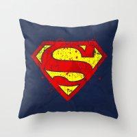 nightwing Throw Pillows featuring Super Man's Splash by Sitchko Igor