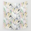 Pastel Shimmer Feather Leaves on Gray by crystalwalen