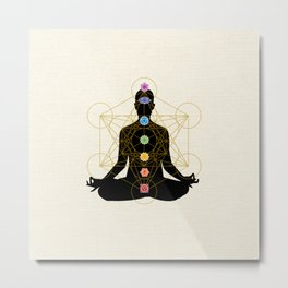 Sacred Geometry Metatron's Cube Chakra Meditation Metal Print