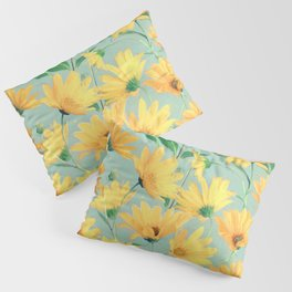 Painted Golden Yellow Daisies on soft sage green Pillow Sham