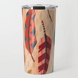 Native American, Colorful Feathers Travel Mug