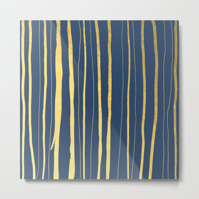 Vertical Living Navy and Gold Metal Print