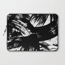 Black hand painted watercolor brushstrokes pattern Laptop Sleeve