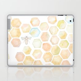Bee and honeycomb watercolor Laptop & iPad Skin
