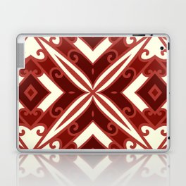 Decorative Floral Pattern 8 - Mahogany, Dark Burgundy, Moon Glow Cream Laptop & iPad Skin