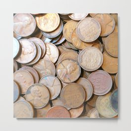 Watercolor Coins, Lincoln Wheat Pennies, 1937 01 Metal Print