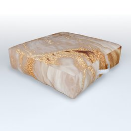 Glamorous Gold Glitter Vein Marble With Copper Sparkles Outdoor Floor Cushion