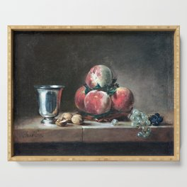 Jean-Siméon Chardin Still Life with Peaches, a Silver Goblet, Grapes, and Walnuts Serving Tray