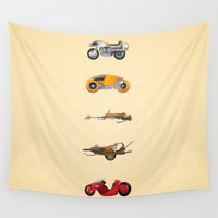bikes Wall Tapestries featuring Sci-Fi Bikes: 1980's by Lawrence Lee