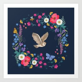 Owl and Wildflowers Art Print