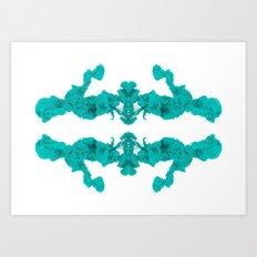 Cyan Ink Drop In Water Art Print