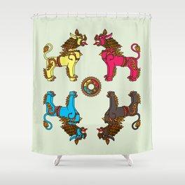 Guardian Dragon-lions of Kathmandu Shower Curtain