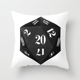 Black 20-Sided Dice Throw Pillow